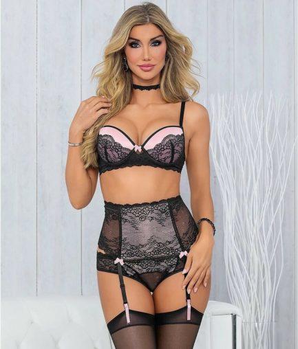 Escante 5PC Padded Bra & High Waisted Garter Set- Pink/Black-Large E57007H-BLK/PNK-L