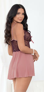 Escante Plum Wine Sheer Lace Babydoll w/ Matching G-String - Small E35797-PLUM-S