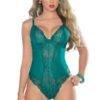 Escante Lace & Mesh Underwire Cotton Crotch Lined Teddy- Green- Small E26408X-GRN-1X
