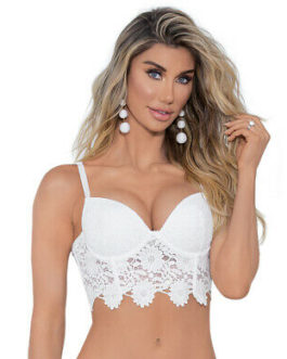 Escante Guipure Lace Bra Top- White- Size 32