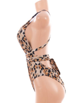 Leopard Print One-Piece Swimsuit- Small