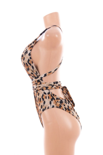 Leopard Print One-Piece Swimsuit- Medium 078311-M
