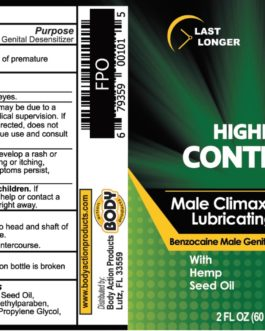 Body Action Higher Control Male Climax Control Lubricating Gel- 2 oz.