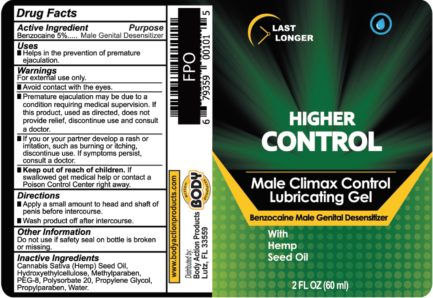 Body Action Higher Control Male Climax Control Lubricating Gel- 2 oz. BA-HCC20