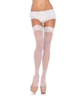 Leg Avenue Nylon Sheer Thigh Highs w/ Lace Top- White- Queen