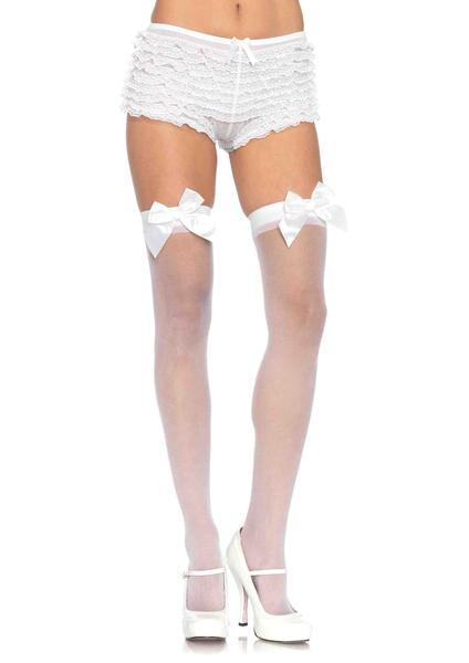 Leg Avenue Sheer Thigh Highs w/ Satin Bow Accent- White- One Size LA-1911-WHT