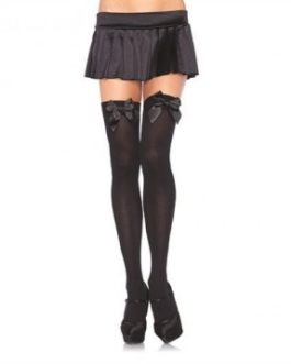 Leg Avenue Opaque Thigh Highs w/ Satin Bow Accents- Black- Queen