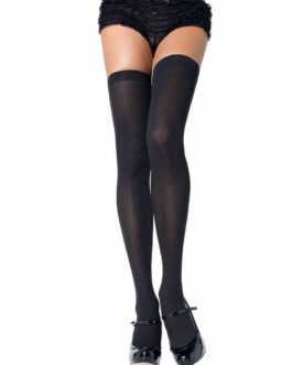 Leg Avenue Opaque Nylon Thigh Highs- Black- Queen