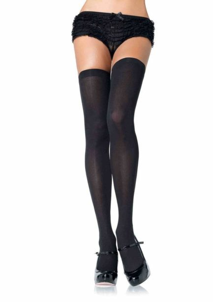 Leg Avenue Opaque Nylon Thigh Highs- Black- Queen LA6672Q-BLK