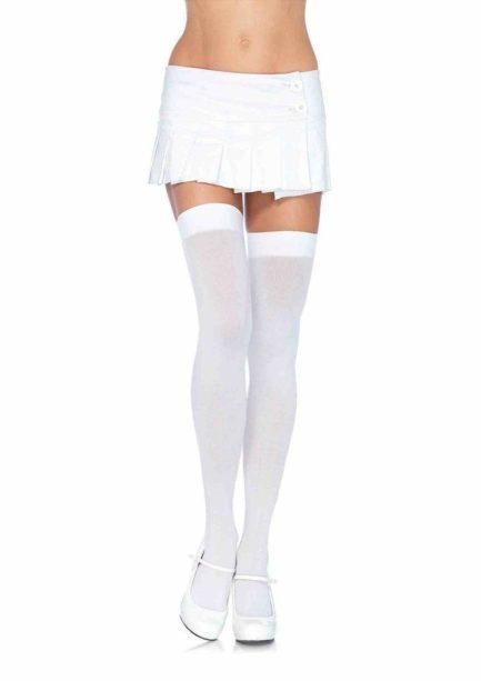 Leg Avenue Opaque Nylon Thigh Highs- White- Queen LA6672Q-WHT