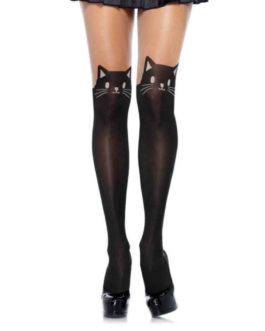 Leg Avenue Spandex Black Cat Opaque Tights- OS