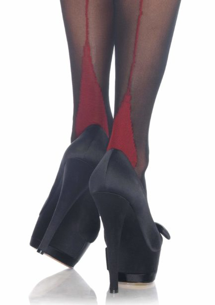 Leg Avenue Cuban Heel Thigh High Stockings w/ Corset Lace Top- Red/Black- One Size LA1039-RED/BLK-OS