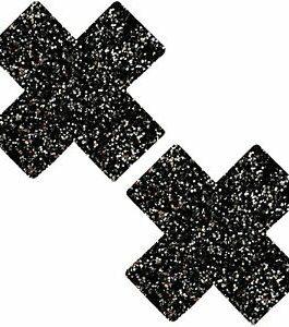Neva Nude Nipztix Pasties- Black Glitter