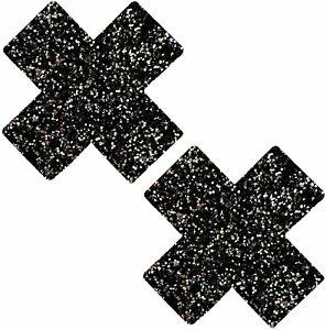 Neva Nude Nipztix Pasties- Black Glitter NN-BM-XF-NS