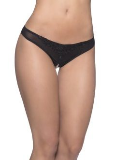 Crotchless Thong w/ Lace Detail and Pearls- Black- 3X/4X