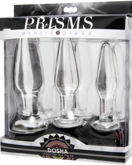 Prisms Erotic Glass 3 pc Glass Anal Plug Kit