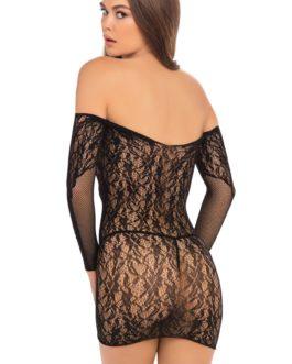 Rene Rofe Demure Long Sleeve Mini Dress- Black- 3X-4X