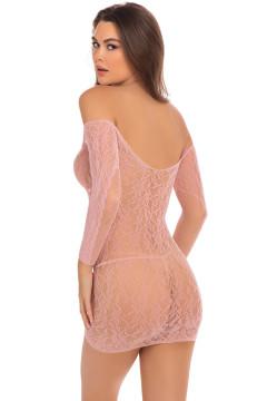Rene Rofe Demure Long Sleeve Mini Dress- Rose- M/L RR7087-ROSE-M/L