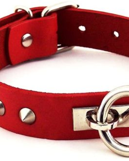 Rogue O Ring Studded Genuine Leather Collar- Red