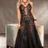 Shirley Of Hollywood Long Lace Sequin Gown- Black- Small SOH-25763-BLUSH