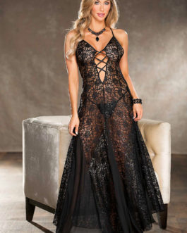 Shirley Of Hollywood Long Lace Sequin Gown- Black- Small
