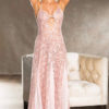 Shirley Of Hollywood Long Lace Sequin Gown- Blush- Large SOH25763-PCH-M
