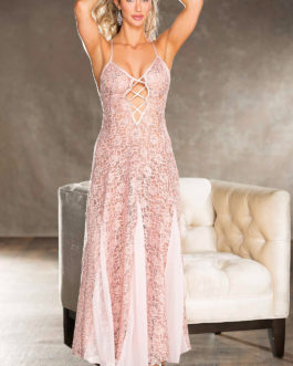Shirley Of Hollywood Long Lace Sequin Gown- Blush- Large