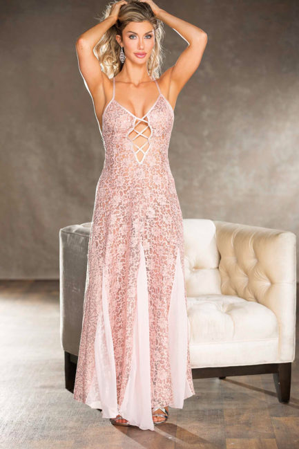 Shirley Of Hollywood Long Lace Sequin Gown- Blush- Large SOH-25763-BLUSH