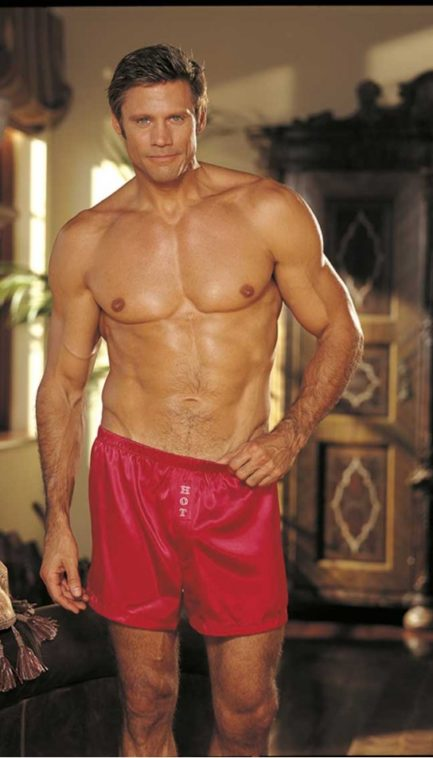 """Shirley of Hollywood Charmeuse """"HOT"""" Boxers- Red- Large 540RED-L"""