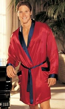 Shirley of Hollywood Charmeuse Red Robe w/ Black Trim and Belt- One Size