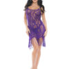 Shirley Of Hollywood Lace Fringed Chemise- Purple- 2XL SOH-SS858-RED-M