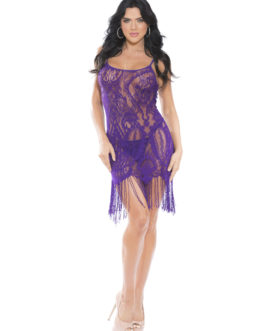 Shirley Of Hollywood Lace Fringed Chemise w/ Matching G-String- Purple- Small