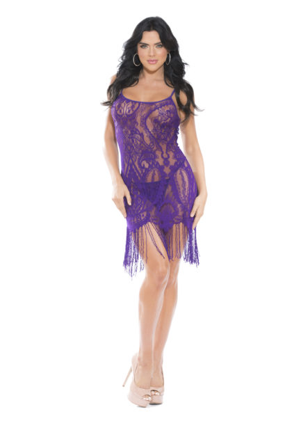 Shirley Of Hollywood Lace Fringed Chemise w/ Matching G-String- Purple- Medium SOH-SS858-PRPL-M