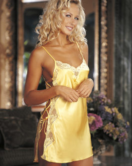 Shirley Of Hollywood Charmeuse & Lace Chemise- Buttercup Yellow- Medium
