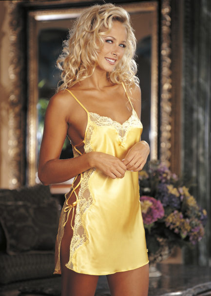 Shirley Of Hollywood Charmeuse & Lace Chemise- Buttercup Yellow- Medium SOH-20015-BCYLW-M