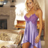 Shirley Of Hollywood Charmeuse & Lace Babydoll/Short Gown- Lilac- X-Large SOH-20365-TEAL-M