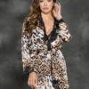 Shirley Of Hollywood Animal Print Charmeuse Robe- Small SOH-31239-XL