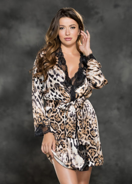 Shirley Of Hollywood Animal Print Charmeuse Robe- Small SOH-25818-S