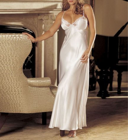 Charmeuse and Lace Long Gown- White- Medium 20300WHT-M