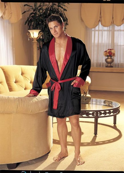 Shirley of Hollywood Charmeuse Black Robe w/ Red Trim & Belt- One Size 20061BLK-OS