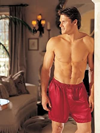 Shirley of Hollywood Men's Charmeuse Boxers- Red- Small 20059RED-S