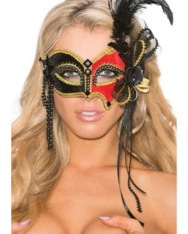 Shirley Of Hollywood Black, Red, & Gold Velvet Eye Mask-