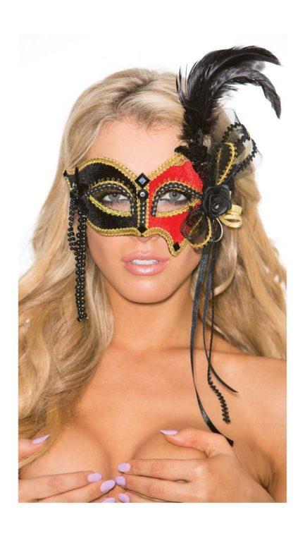 Shirley Of Hollywood Black, Red, & Gold Velvet Eye Mask- SOH-803