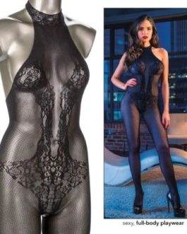 Scandal Halter Lace Body Suit- Black- One Size