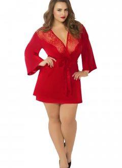 Satin & Eyelash Robe – Queen Size – Red