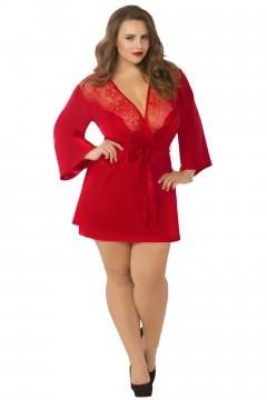 Satin & Eyelash Robe - Queen Size - Red STM-10695X