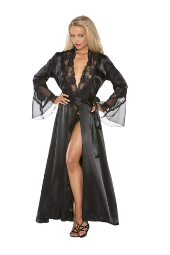 Shirley Of Hollywood Long Charmeuse Chiffon and Lace Robe- Black- L/XL