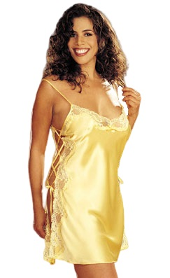 Shirley of Hollywood Charmeuse and Lace Chemise- Buttercup Yellow- 3X X20015-YW-3X