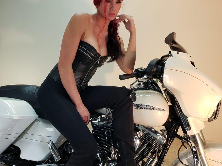 Leather Corset on Harley