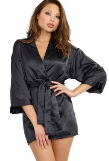 Dreamgirl Robe, Chemise, and Padded Hanger- Medium Black